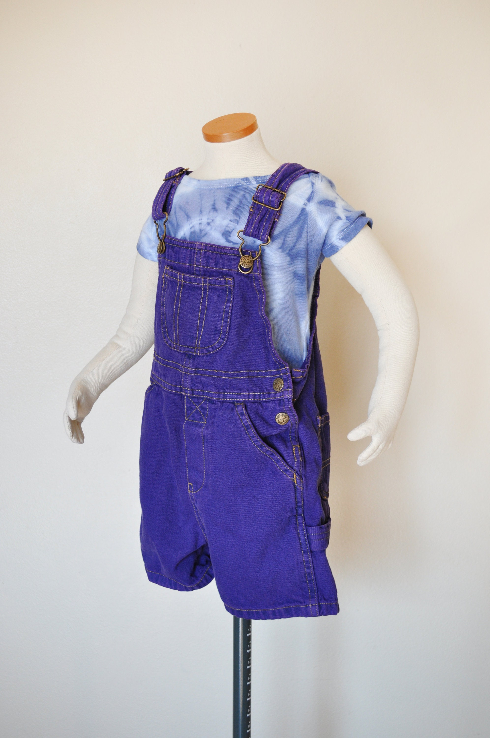 Vintage Overalls & Jumpsuits Purple Kids 3T Bib Overall Shorts - Hand Dyed Violet Upcycled Faded Glory Baby Denim Shortfalls Child Toddler Size 3 Year  24 W X 3 L $30.00 AT vintagedancer.com