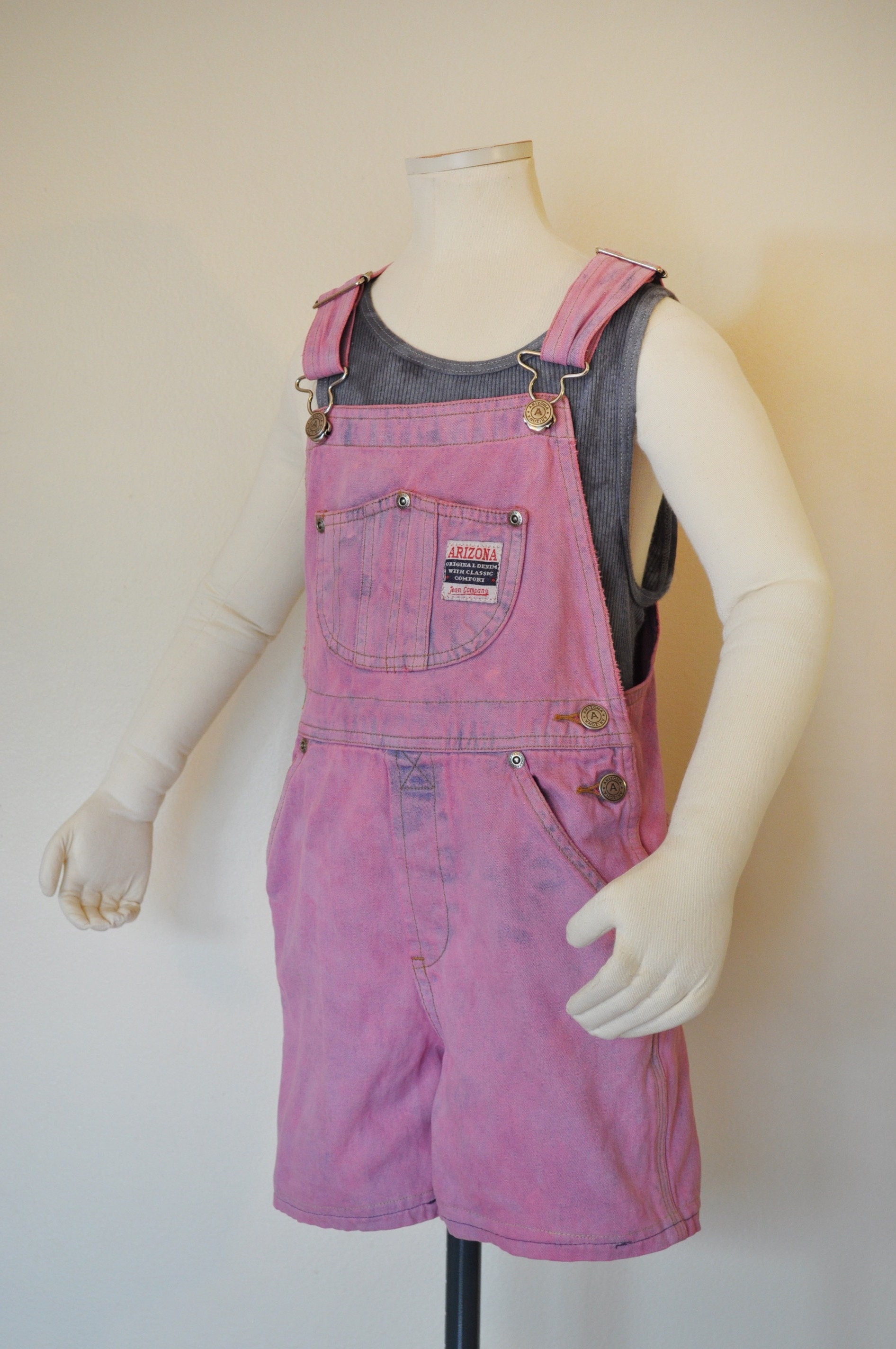 Vintage Overalls & Jumpsuits Pink Kid Sz 6 Year Bib Overall Shorts - Dyed Upcycled Vintage Arizona Overall Child Girl Boy Size  26 Waist $25.00 AT vintagedancer.com
