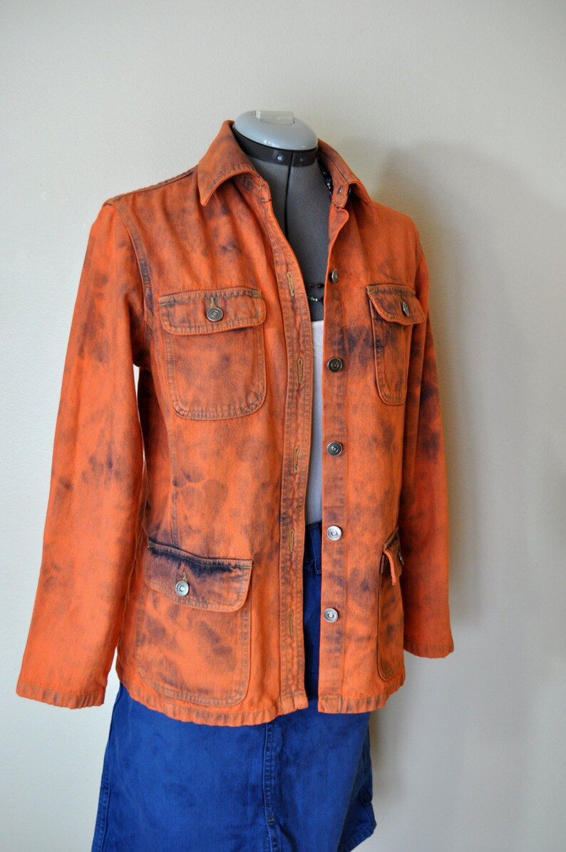 67b22ffcd Orange Small Denim JACKET - Orange Hand Dyed Upcycled Cherokee Denim Barn  Jacket - Adult Womens Size Small (40 chest)