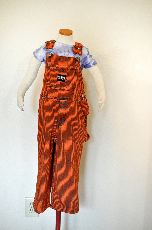 Vintage Overalls & Jumpsuits Orange 3T Bib Overall Pants - Dyed Vintage Denim Key Imperial Cotton Overalls Child Toddler 3 Year  24 W X 14 L $25.00 AT vintagedancer.com