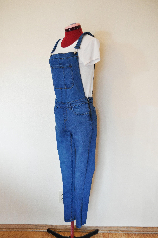 Vintage Overalls & Jumpsuits Blue Jrs. Large Bib Overall Pants - Royal Dyed Lefties Denim Cotton Overalls Womens Juniors Size  32 Waist X 28 L $30.00 AT vintagedancer.com