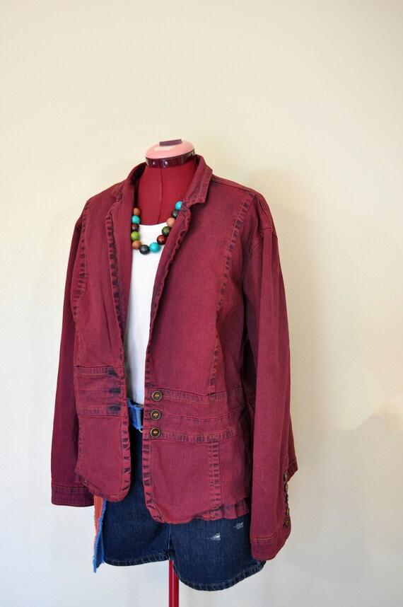 Red Maroon Dyed Upcycled St 56 chest Johns Bay Denim Barn Blazer Jacket Red 2X Denim Jacket Adult Womens Plus Size Extra Large XL