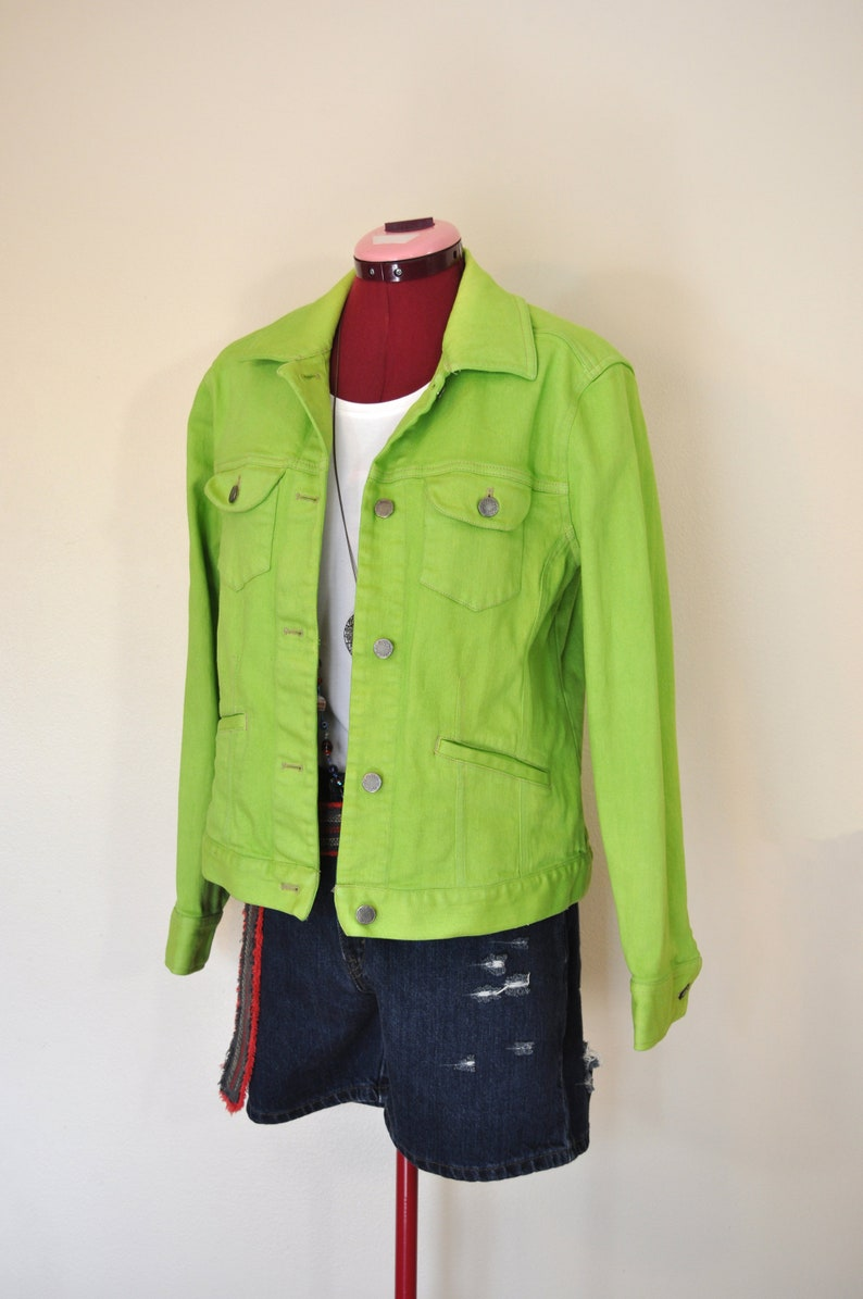 a4aab9b9cd0 Green Small Denim JACKET Lime Apple Green Dyed Upcycled