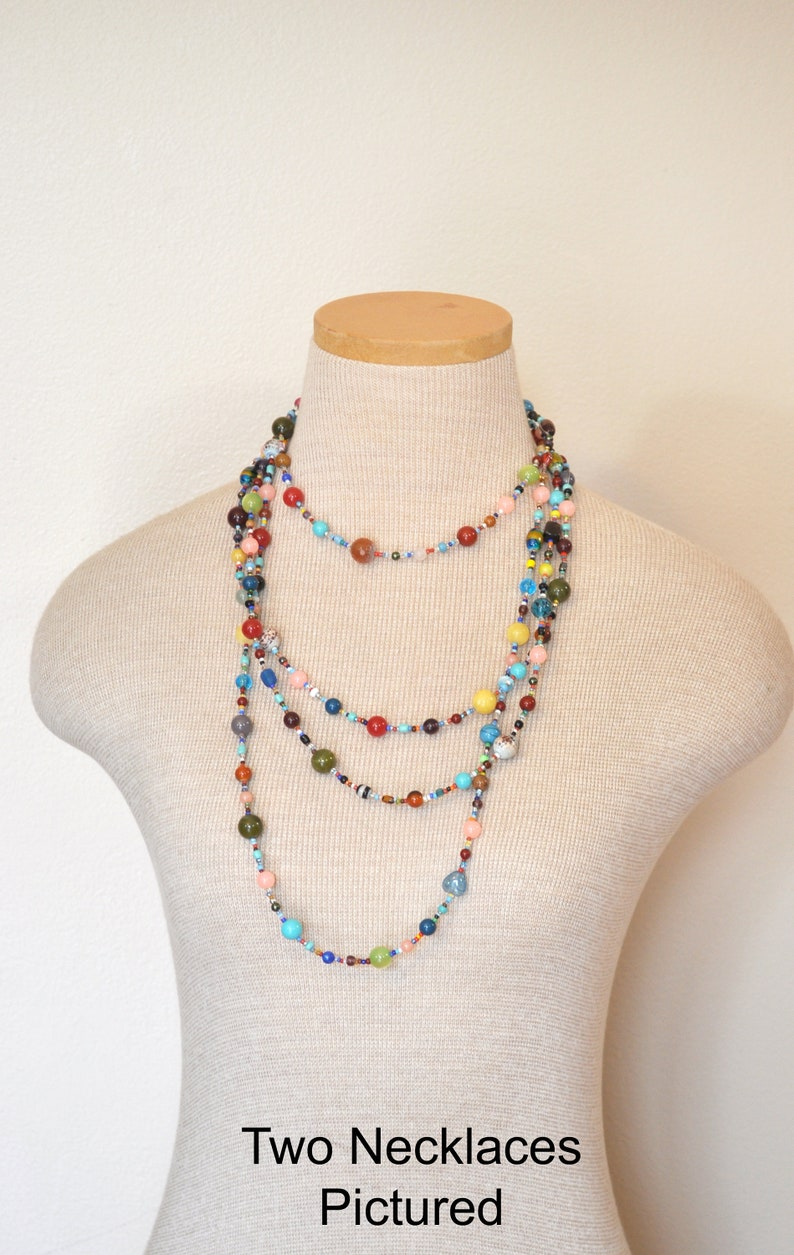 Beaded NECKLACE 48 Goes with Everything Necklace 117 Multiple Pastel Colors Orange Green Red Aqua Gold Seed Bead Glass Bead Long 24