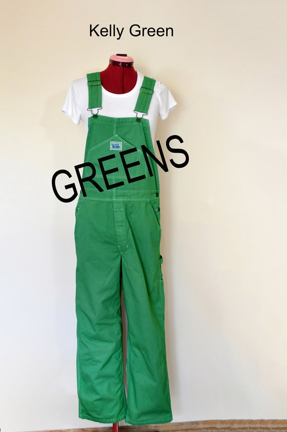 CUSTOM DYED Green Bib Overall Pants Kelly Teal Lime Apple Dyed Adult Youth Overalls Shorts Waist 30, 32, 34, 36, 38, 40, 42, 44, 46