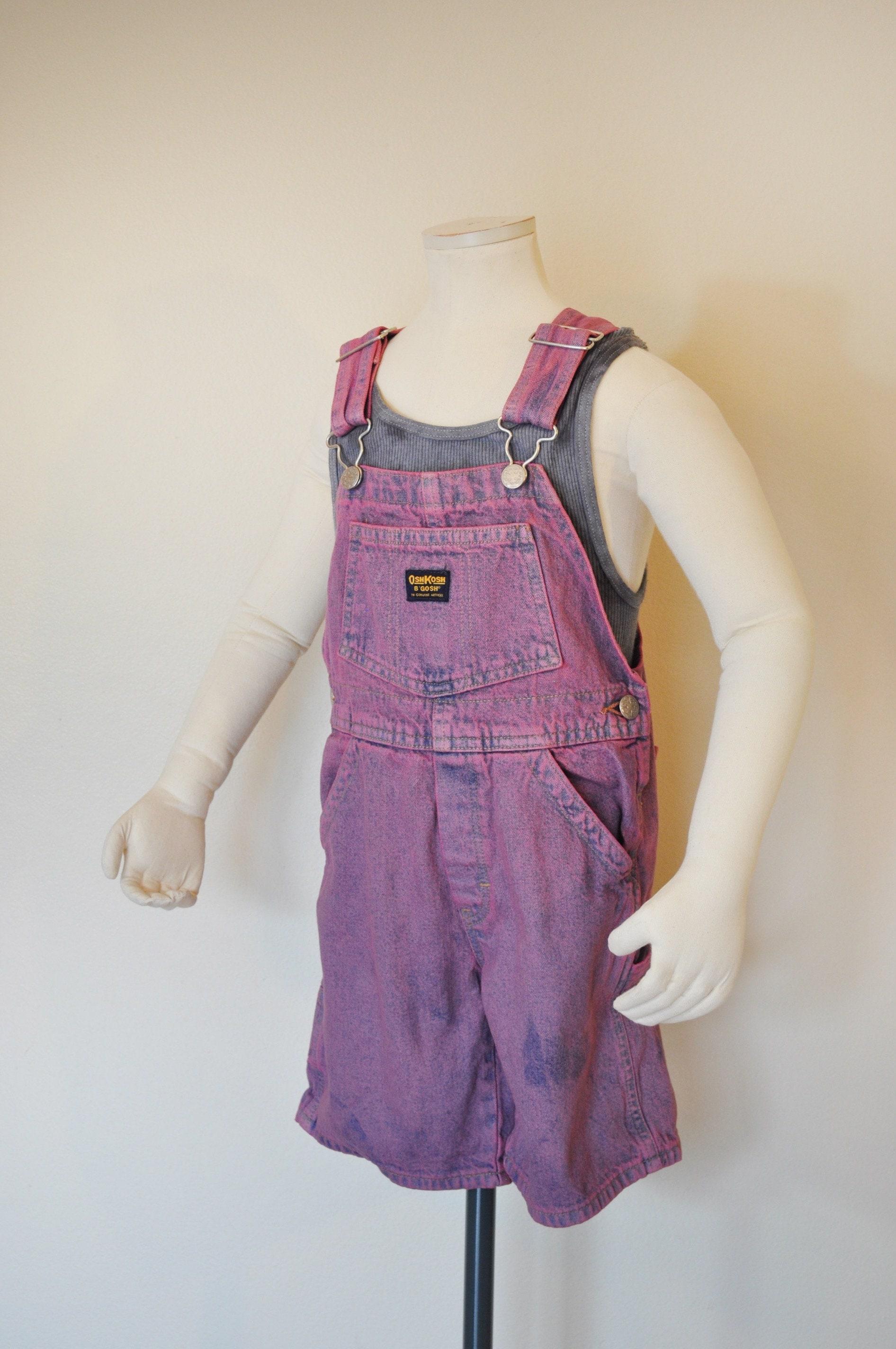Vintage Overalls & Jumpsuits Mauve Pink Kid Sz 5 Year Bib Overall Shorts - Hand Dyed Vintage Oshkosh Denim Overall Child Girl Boy Size  28 Waist $25.00 AT vintagedancer.com