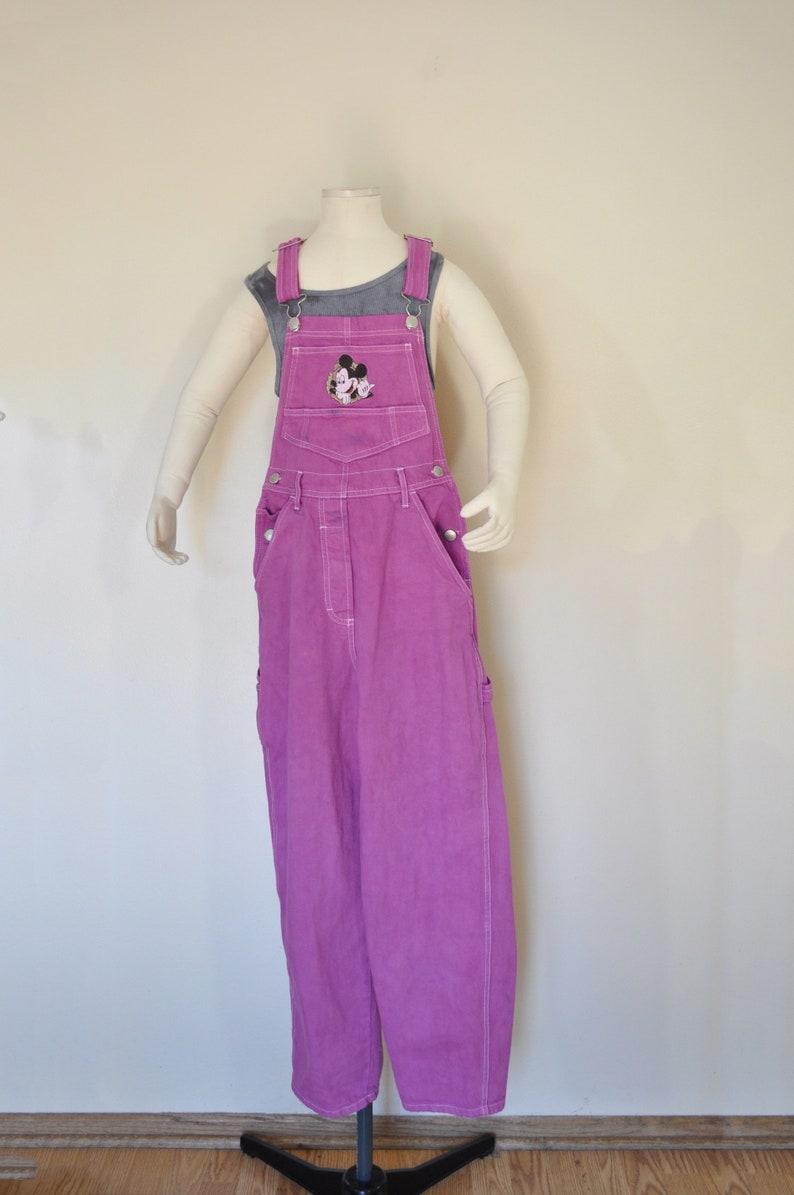 Pink Kid Size 10 Year Medium Bib OVERALL Pants Fuchsia Dyed Vintage Mickey Mouse Overalls 28 Waist x 27 L Child Girls Boys Medium