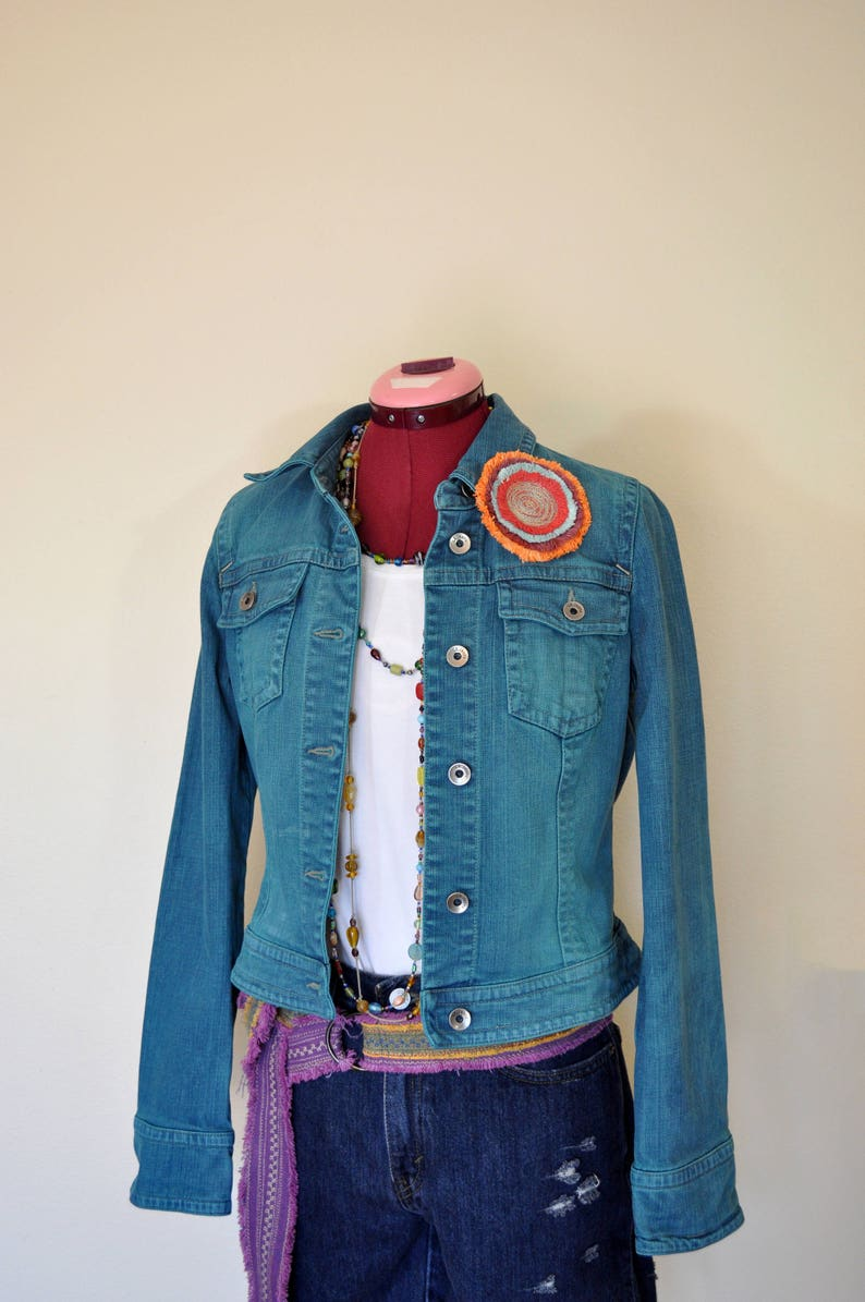 046ae4e1a9b Teal Jrs. Large Denim JACKET Dark Teal Green Dyed Upcycled