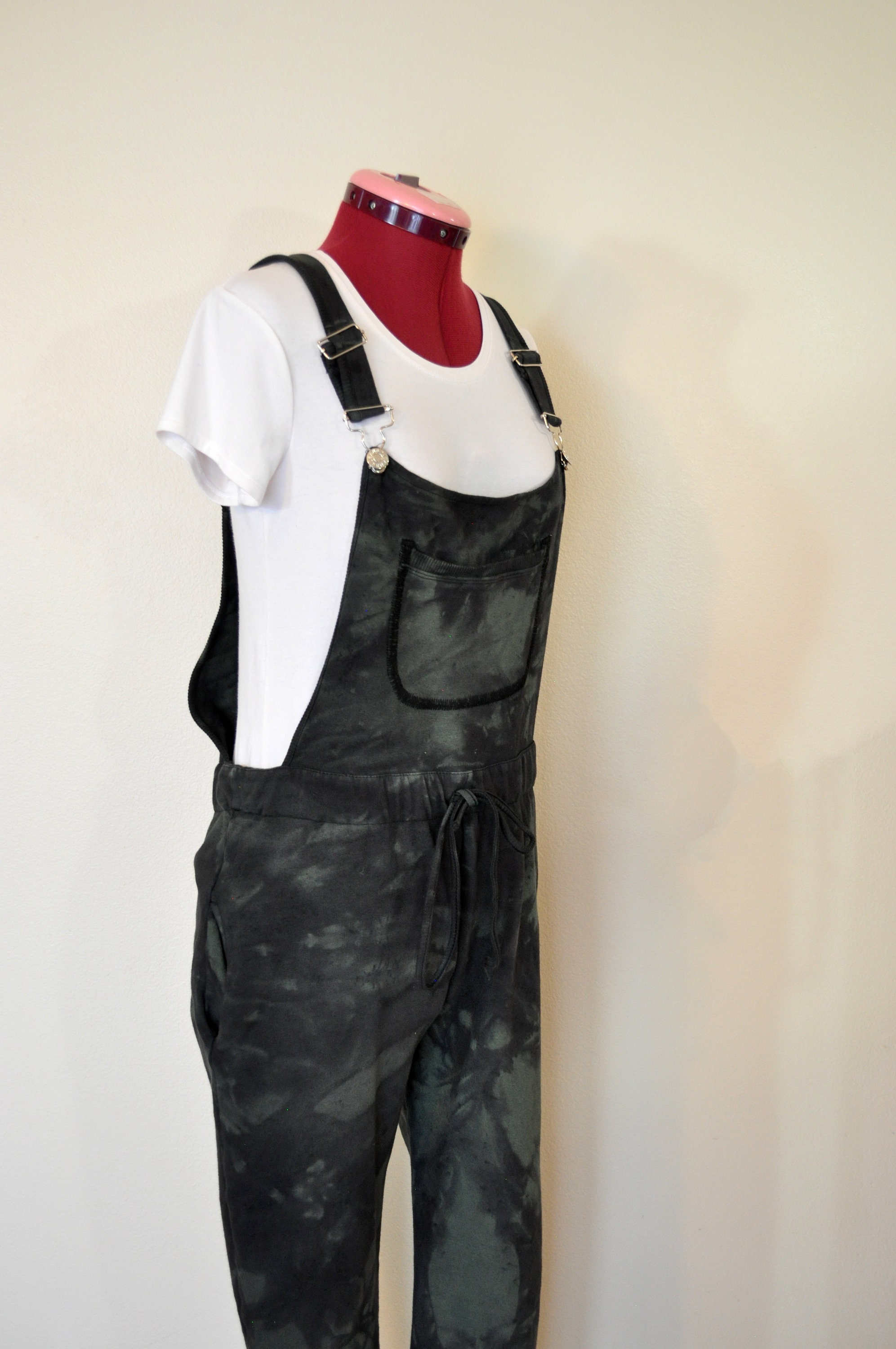 Vintage Overalls & Jumpsuits Green Jrs. Xl Bib Overall Pants - Black Dyed Upcycled Crazy Colors Cotton Denim Overall Adult Womens Size Juniors Extra Large  34W X 27L $30.00 AT vintagedancer.com