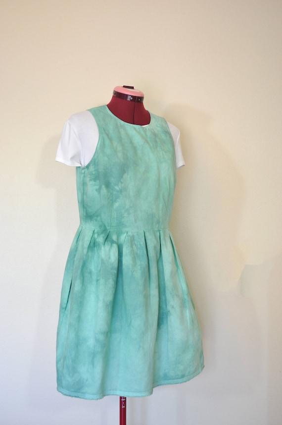 a3c4d5b4f32 Teal Sz 6 Small Linen Sun DRESS Celadon Dyed Upcycled