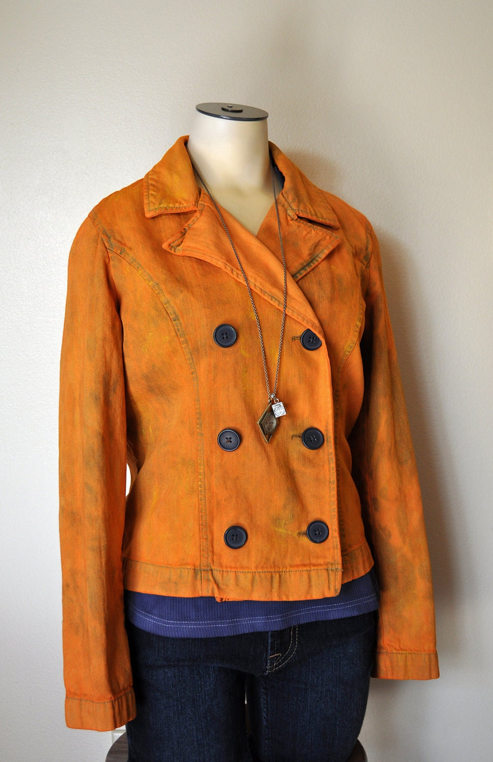 3a70e6016 Orange Small Denim JACKET - Pumpkin Orange Hand Dyed Upcycled French Cuff  Double Breasted Denim Jacket - Adult Womens Small (36
