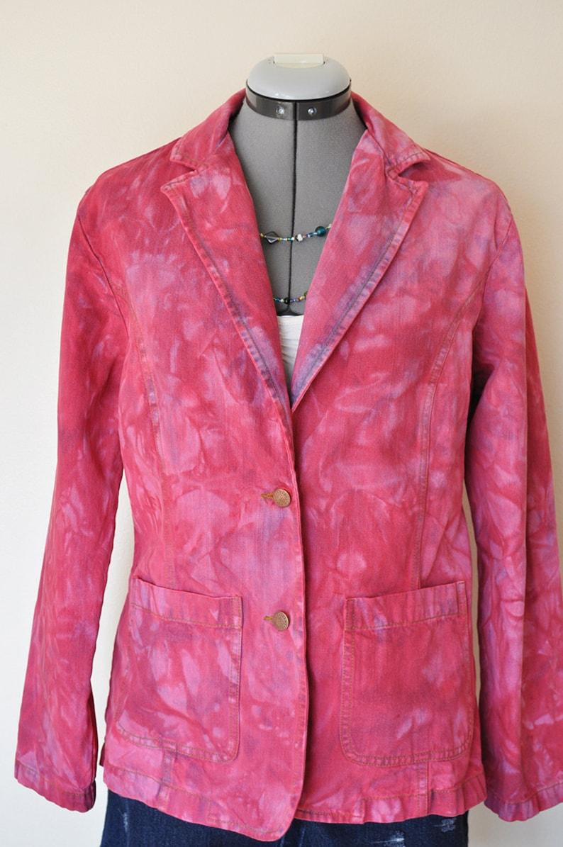 Magenta Hand Dyed Upcycled Bill Blass Cotton Denim Blazer Jacket Fuchsia Pink Small Denim JACKET Adult Women Size Small 42 chest