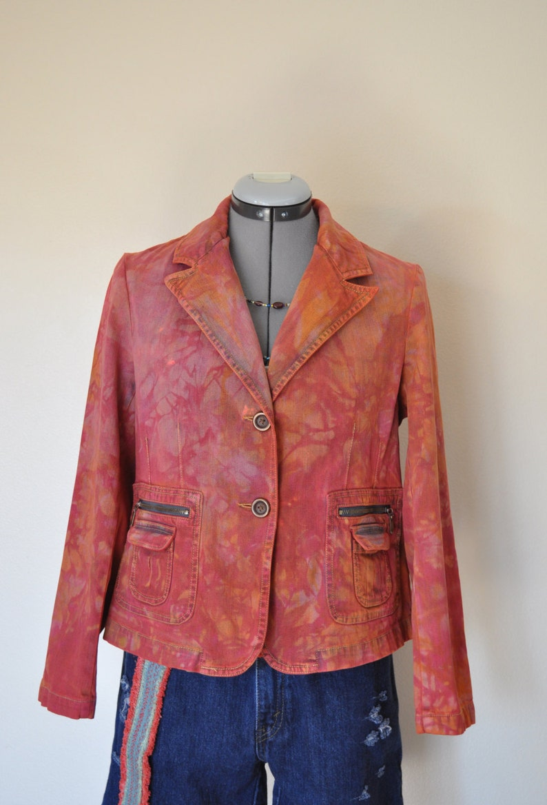 Red PM Medium Denim Jacket 40 chest Orange Cherry Red Hand Dyed Upcycled Relativity Denim Blazer Jacket Adult Women Petite Medium
