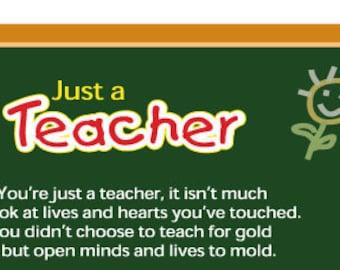 Just A Teacher Digital Download (Green Chalkboard)