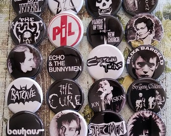 Goth button set 2, 80s Gothic Rock buttons, button, pin, badge, Magnet