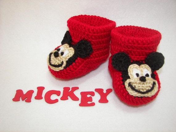 Baby Booties Mickey Mouse Nb Bis 6 Monate Fein Fertig Häkeln Etsy