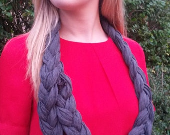Rope Scarf, Infinity Scarf, Womens Fashion Scarf, Pleated Scarf, Jersey Scarf