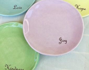 Positivity Dessert Plates, Dinnerware, Set of 4, Hope, Joy, Love, Kindness
