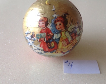 Vintage German Paper Mâché Christmas Candy Container Ball Ornament, approx. 2 1/2""