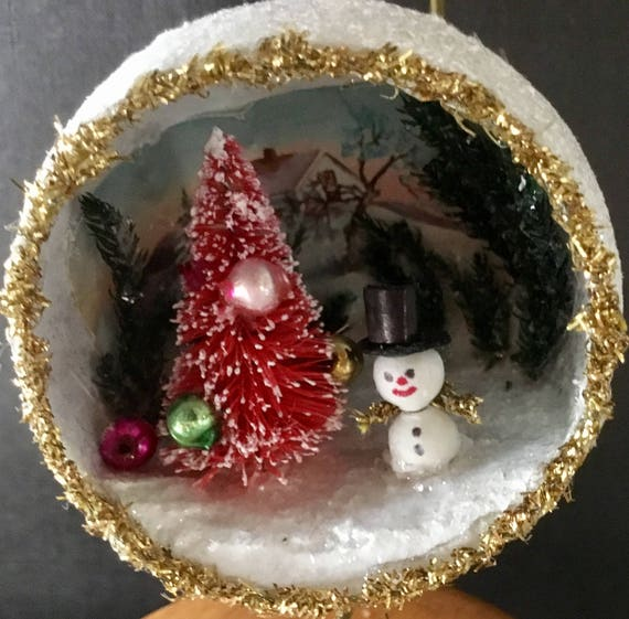 Angel Hair Christmas Decoration.Christmas Ornament Paper Mache Ball Vintage Silver Angel Hair Tinsel Vintage Flocked Bunny Mica Fern