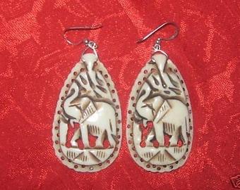 Unusual Hand Carved Camel Bone African Elephant Earrings