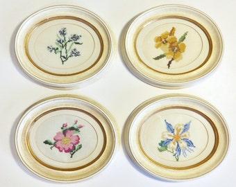 vintage framed cross stitch flower art set collection