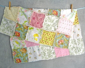 baby girl quilt - pink green yellow spring meadow flowers