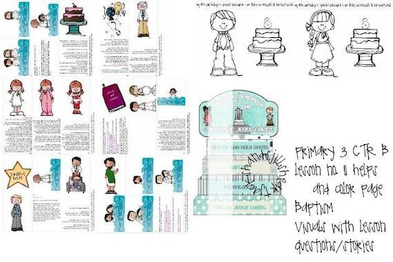 LDS primaria manual 3 CTR B lección 11 bautismo lección ayuda | Etsy
