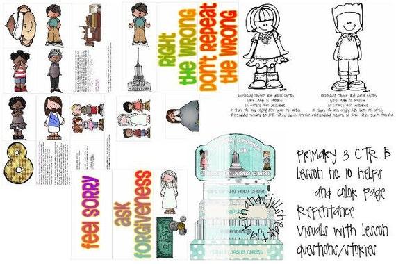 LDS primaria manual 3 CTR B lección 10 arrepentimiento lección | Etsy