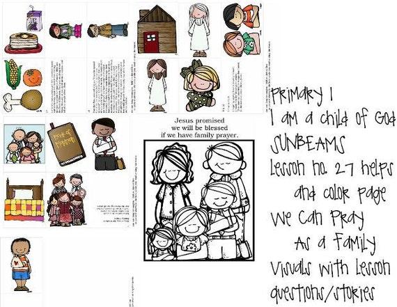 LDS rayos primaria manual 1 lección 27 nos puede orar como un | Etsy