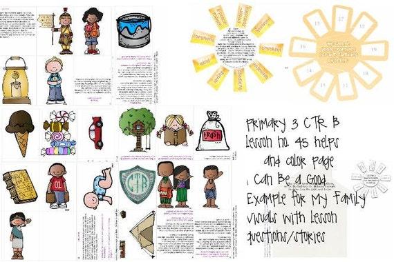 LDS primaria 3 manual CTR B lección 45 que puede ser un buen   Etsy