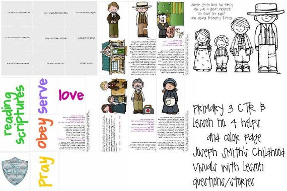 LDS primaria manual 3 CTR B Lección 4 José Smith infancia | Etsy