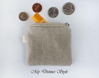 Mini Coin Purse  / Linen Fabric Coin Purse / Key ring pouch
