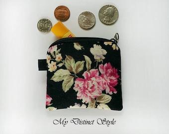 Canvas Mini Coin Purse  / Fabric Coin Purse / Key ring pouch