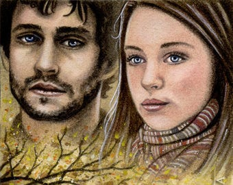 The Fisherman's Lure - Will Graham & Abigail Hobbs - Hannibal Traditional Art Watercolor Painting - ACEO Print - Hand Signed