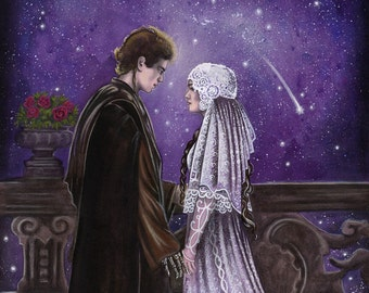 """Across the Stars - Star Wars Traditional Art Watercolor Painting - Photo Print 15x20cm (5.9""""x7.8"""") - Hand Signed"""