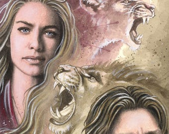 """The Lion's Roar - Game of Thrones Traditional Art - Photo Print 15x20cm (5.9""""x7.8"""") - Hand Signed"""
