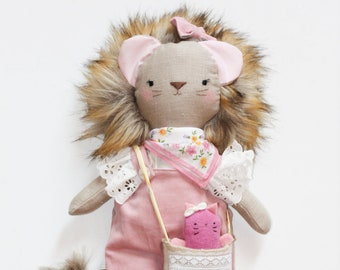 lion doll, custom lion doll, lion stuffed animal plush, made to order, with purse and pet, with illustration