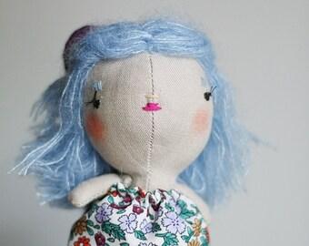 mini doll,miniature cloth doll,eco friendly heirloom doll,handmade doll,lucky charm doll, tiny doll, blue hair doll
