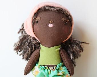 heirloom cloth doll, ooak doll,rag doll, black doll, vintage floral ruffle pants, green, pink