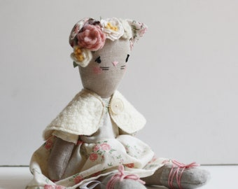custom stuffed animal, animal doll, heirloom doll, collectible doll , custom plush,vintage fabrics, made to order