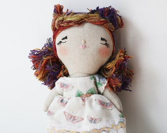 heirloom cloth doll, ooak doll,rag doll, vintage floral dress
