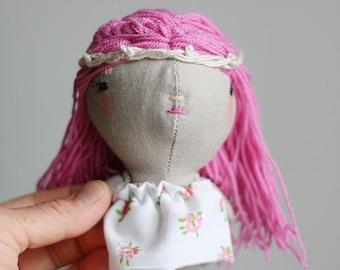 mini doll,miniature cloth doll,eco friendly heirloom doll,handmade doll,lucky charm doll, tiny doll, pink hair doll, hippie doll