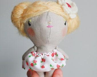 mini doll,miniature cloth doll,eco friendly heirloom doll,handmade doll,lucky charm doll, tiny doll, strawberry dress