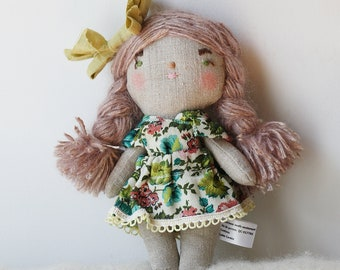 heirloom cloth doll, ooak doll,rag doll, floral vintage dress