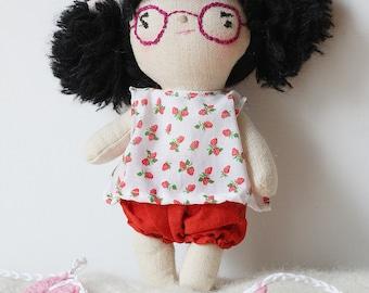 heirloom cloth doll, ooak doll,rag doll, vintage strawberry top, rust bloomers