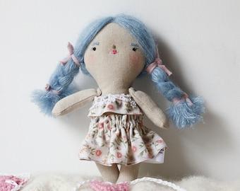 heirloom cloth doll, ooak doll,rag doll,  blue hair doll, vintage floral skirt and top