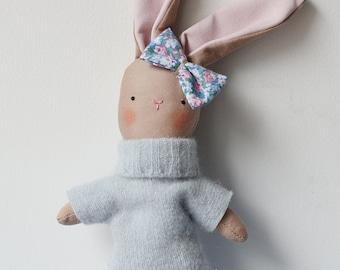 easter bunny plush , bunny stuffed plush, little rabbit plushie,wool sweater