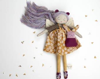 cloth doll, custom rag doll,poupée de chiffon,  with purse and animal friend,wool hair,vintage fabrics,linen,leather,eco-friendly doll