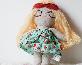 heirloom cloth doll, ooak doll,rag doll,  mushroom dress, hippie doll